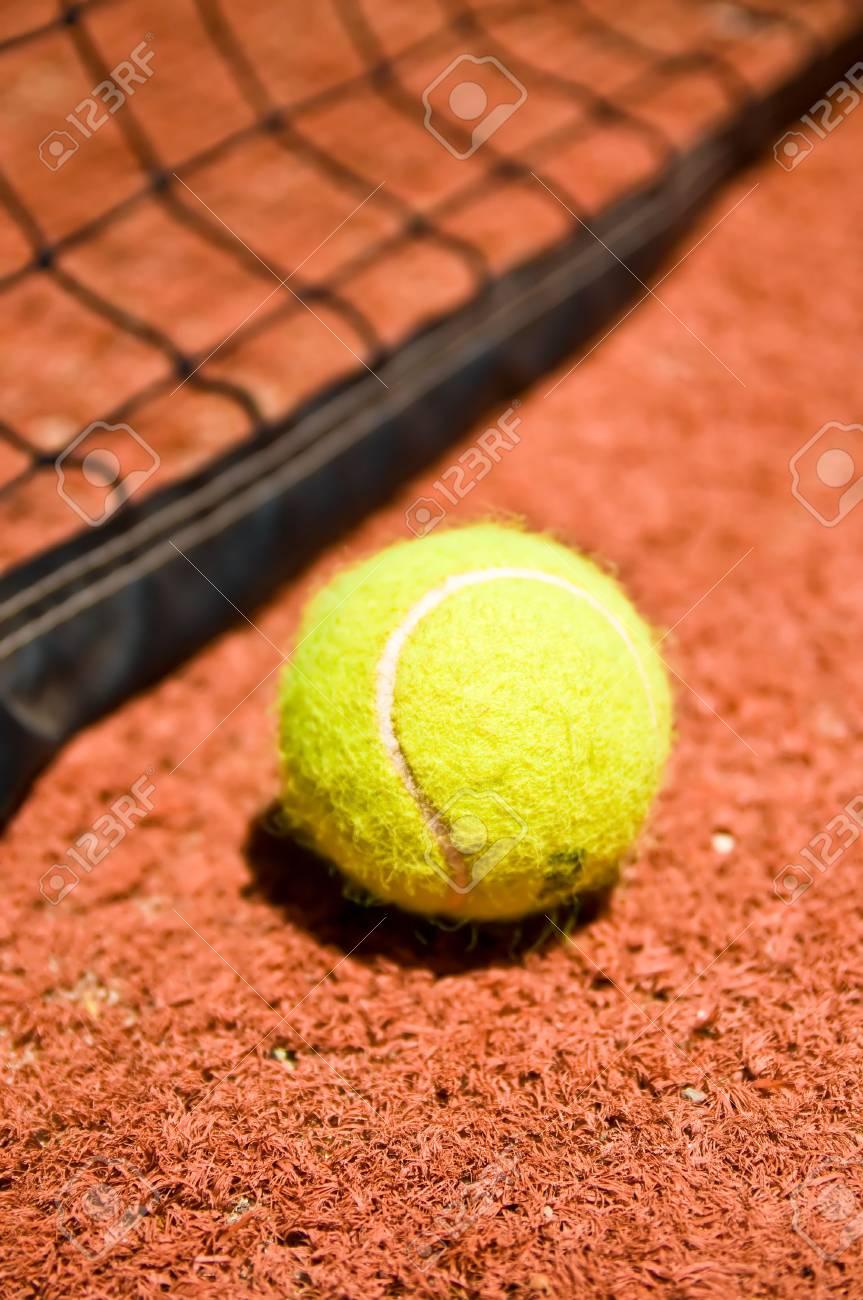Tennis ball on the court Stock Photo - 4018731