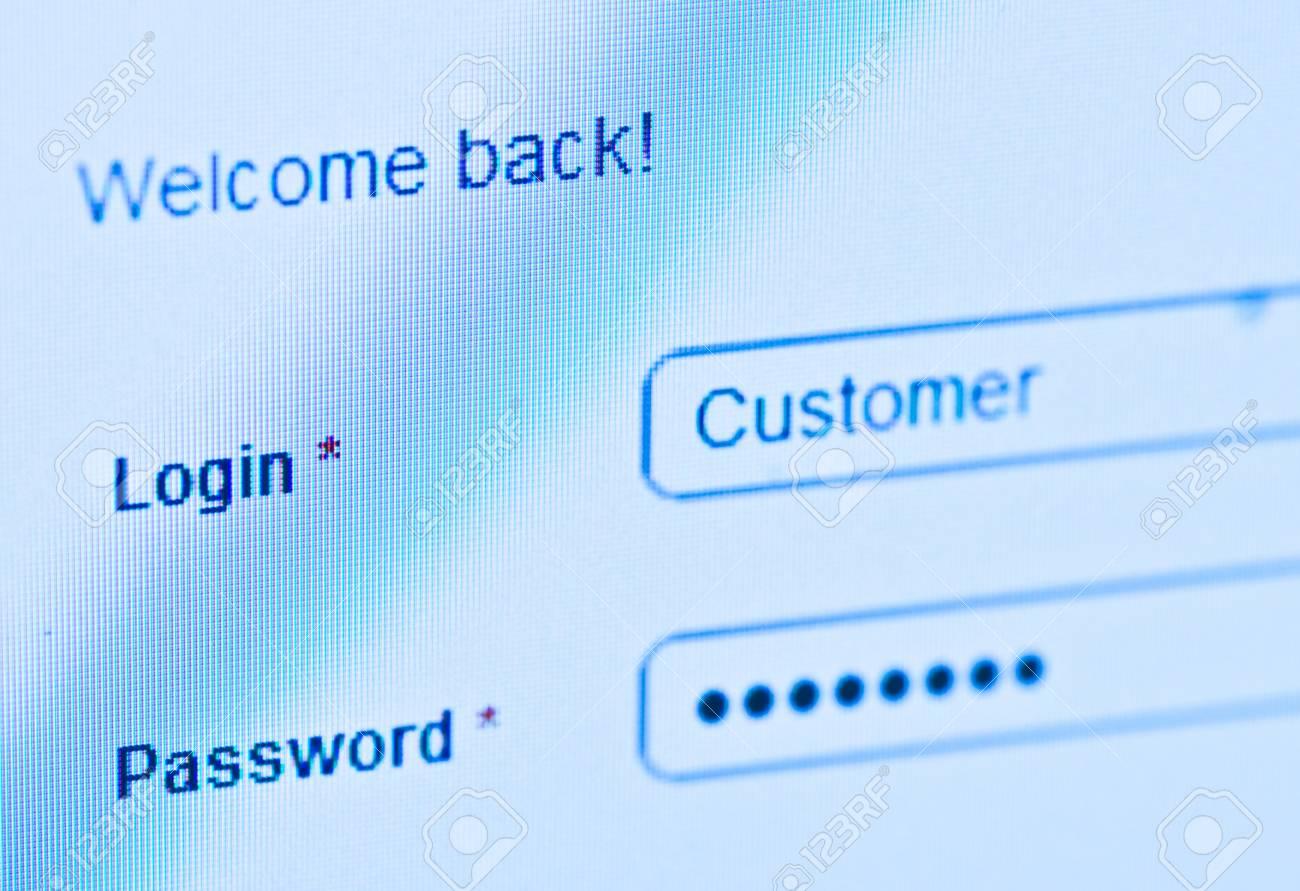 login - customer and password  Blue computer screen macro Stock Photo - 14625976