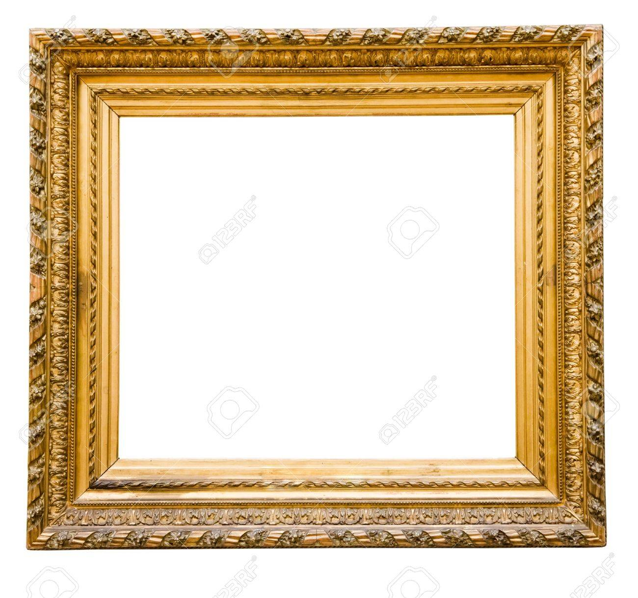 Vintage Gold Frame Isolated On White Stock Photo Picture And