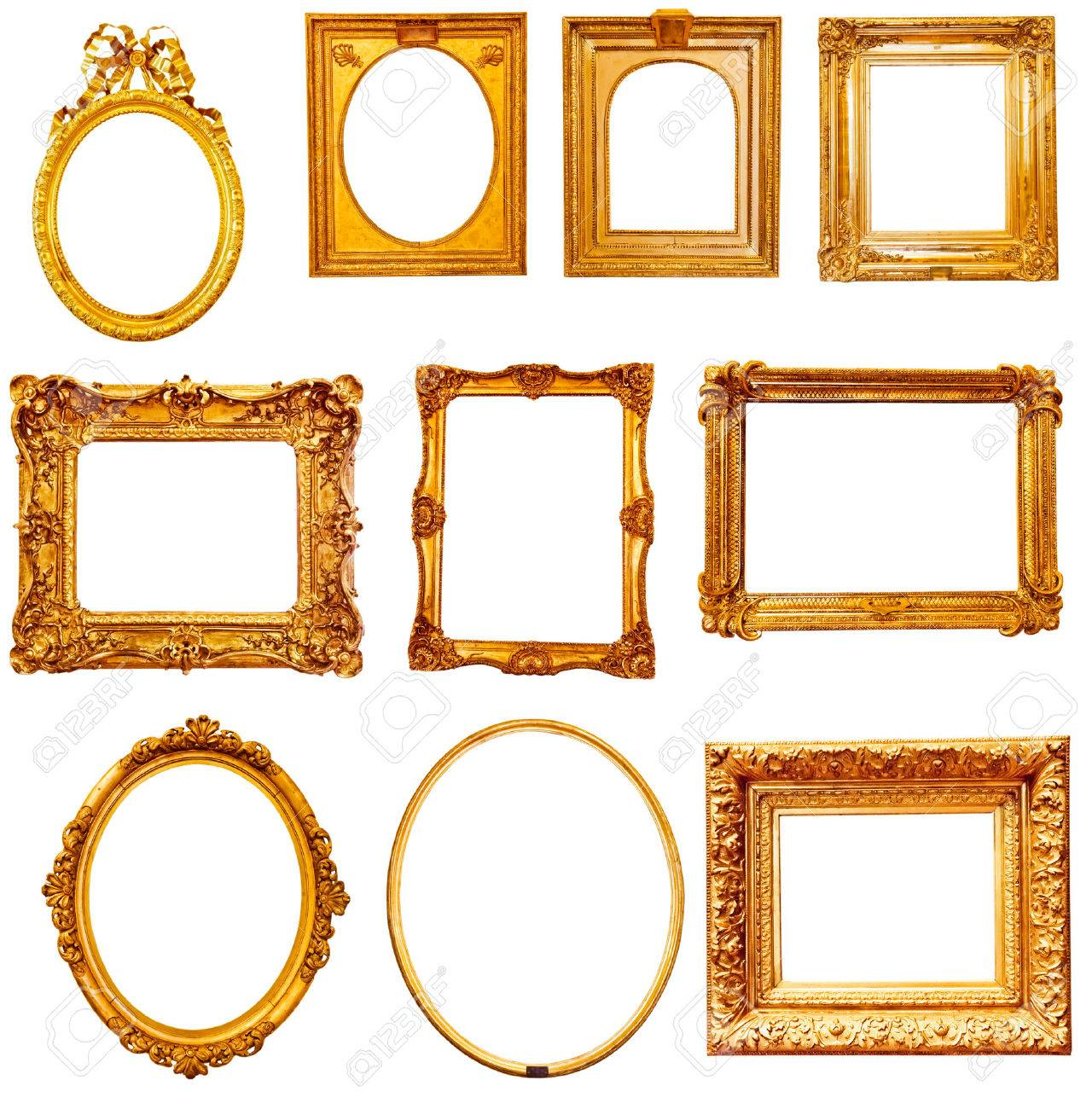 Set of golden vintage frame isolated on white - 33759928