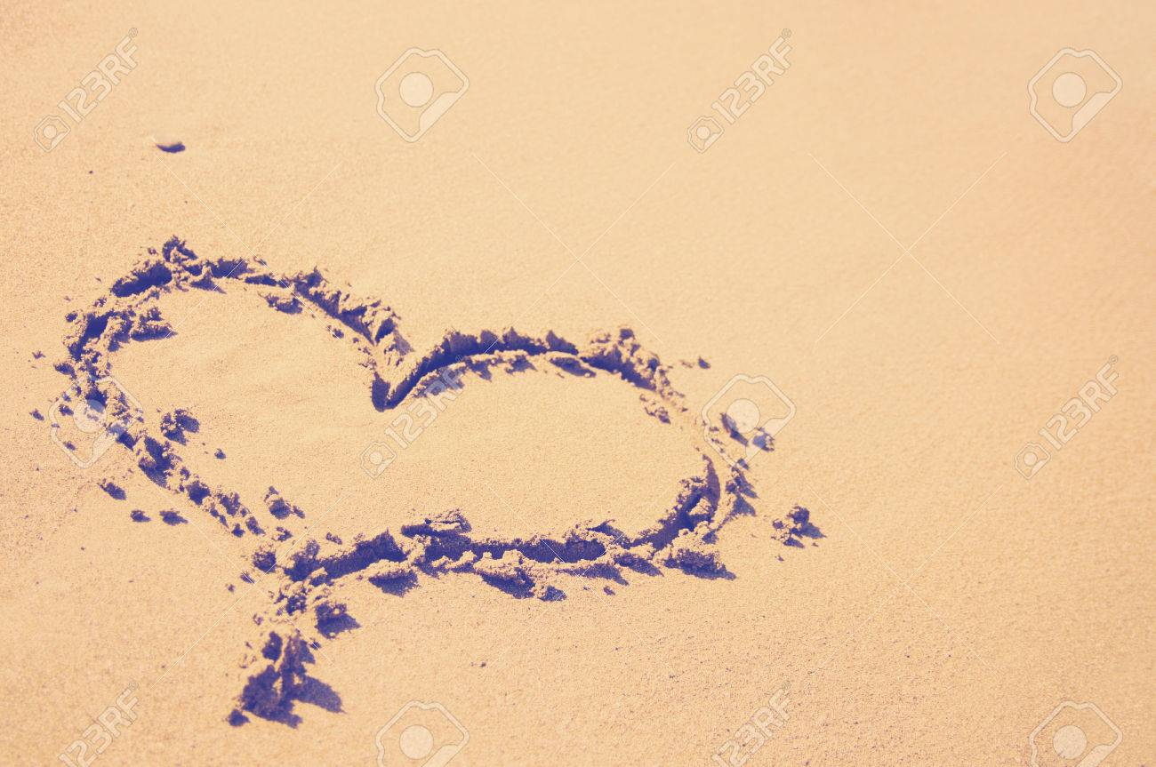 Heart Symbol On Beach Instagram Style Filtred Image Stock Photo