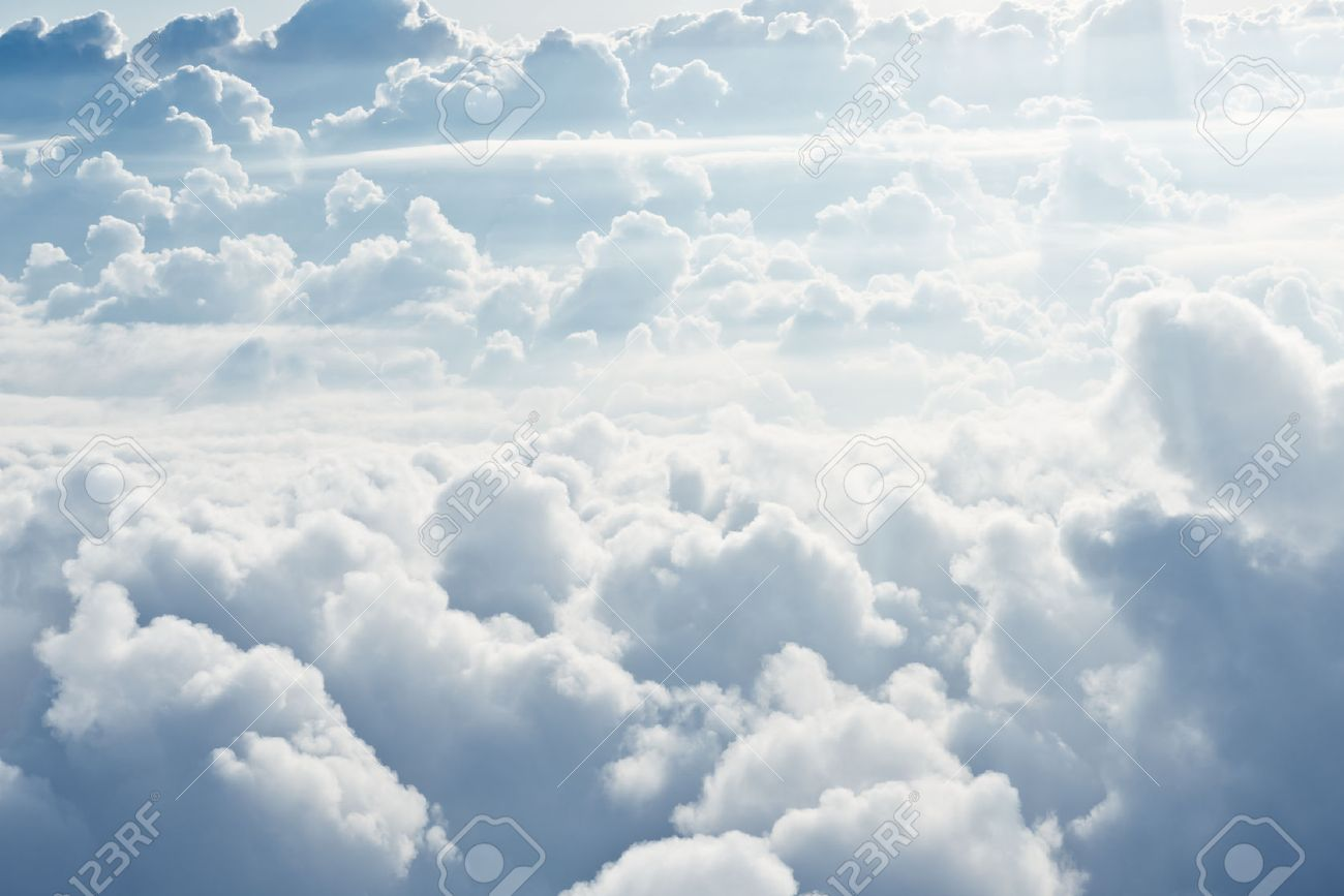 Aerial view on white fluffy clouds - 41499398