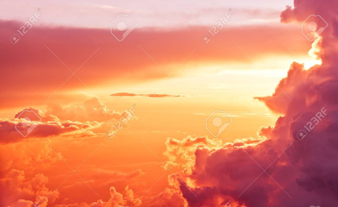 Amazing view from plane on sunrise sun and clouds - 49323894