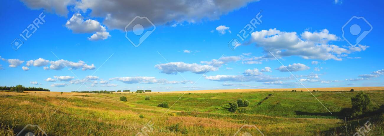 Panoramic summer view of fields and green hills at sunset - 126141169