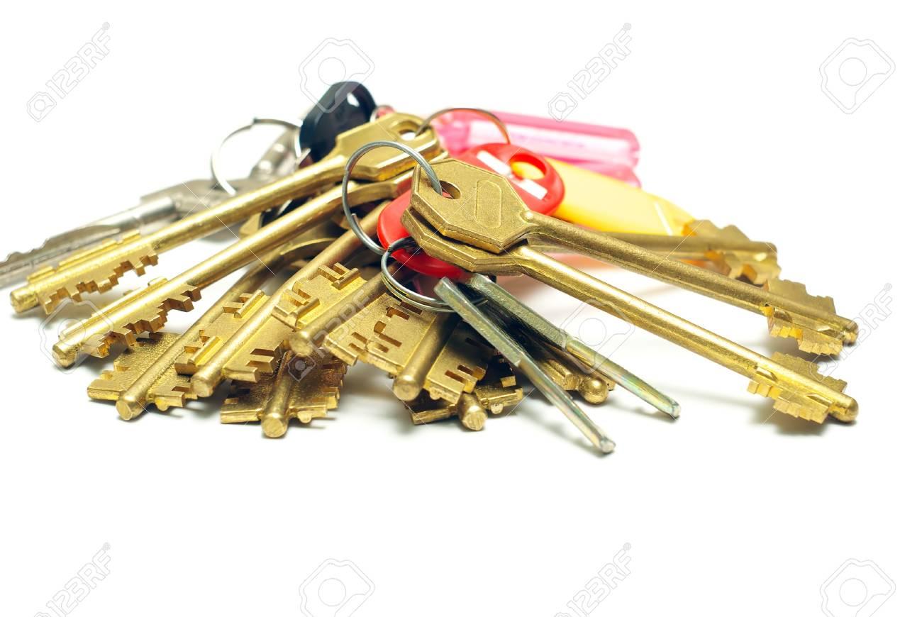 Many iron keys on a white background Stock Photo - 10776631