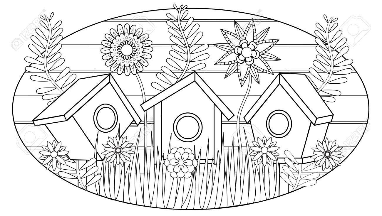 Birdhouses In The Garden Vector Illustration For Adult Coloring