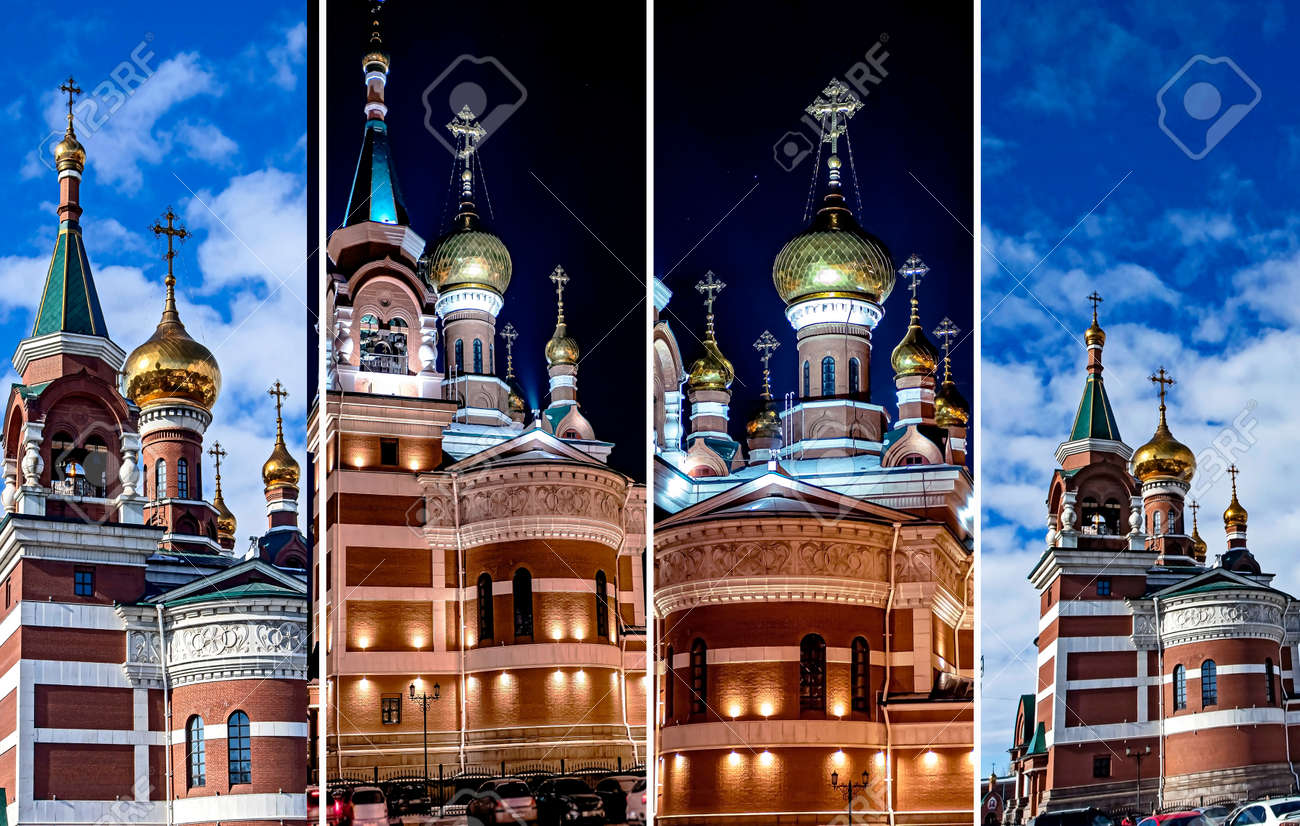 The Temple Of The Holy Great Martyr George The Victorious in Chelyabinsk, view of a cold winter night - 164377458