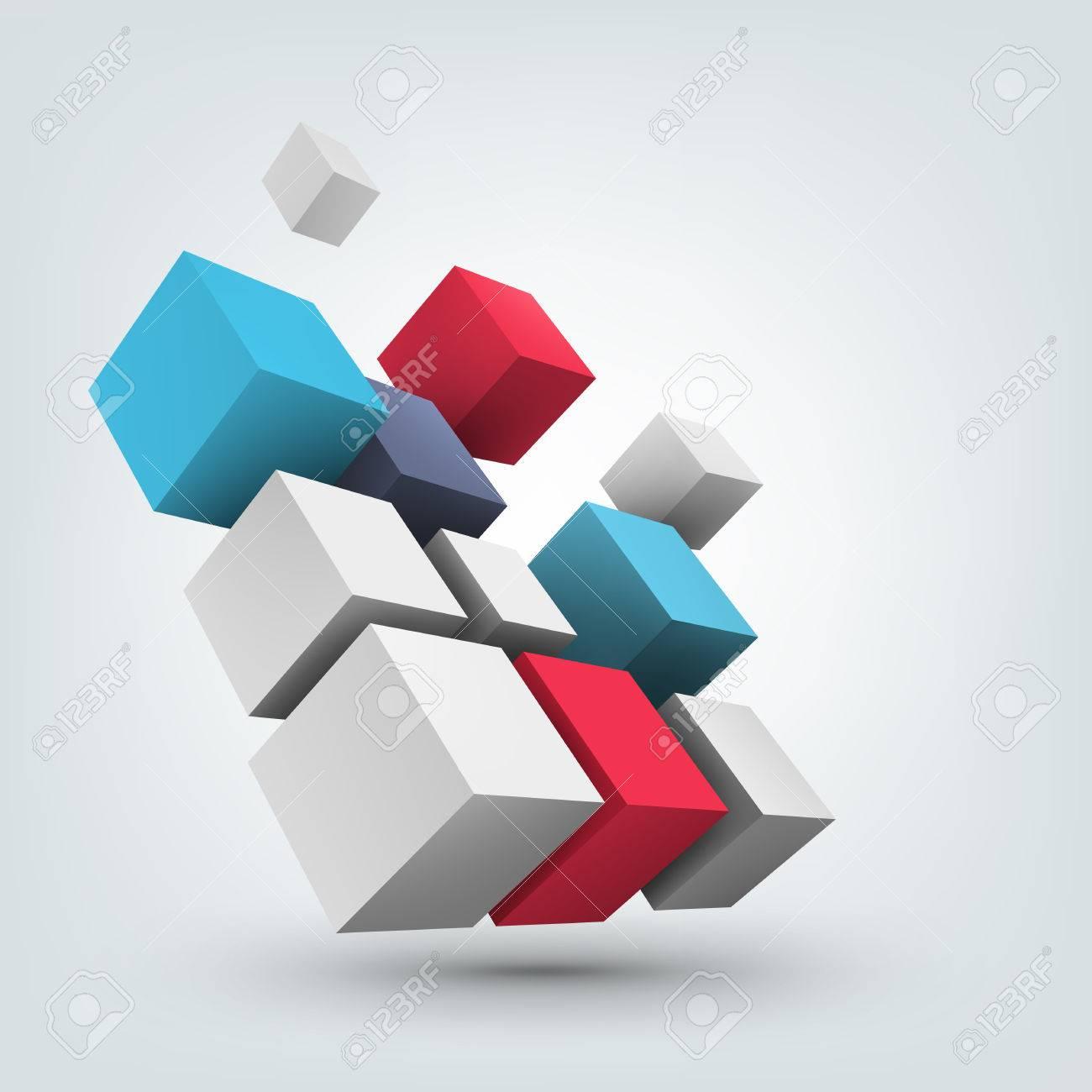 Poster design 3d - Composition Of 3d Cubes Background Design For Banner Poster