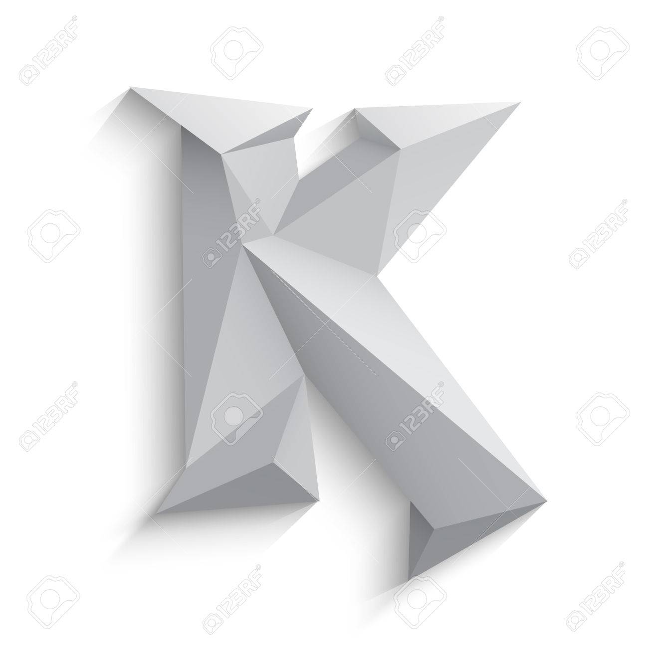 Vector Illustration Of 3d Letter K On White Background Icon