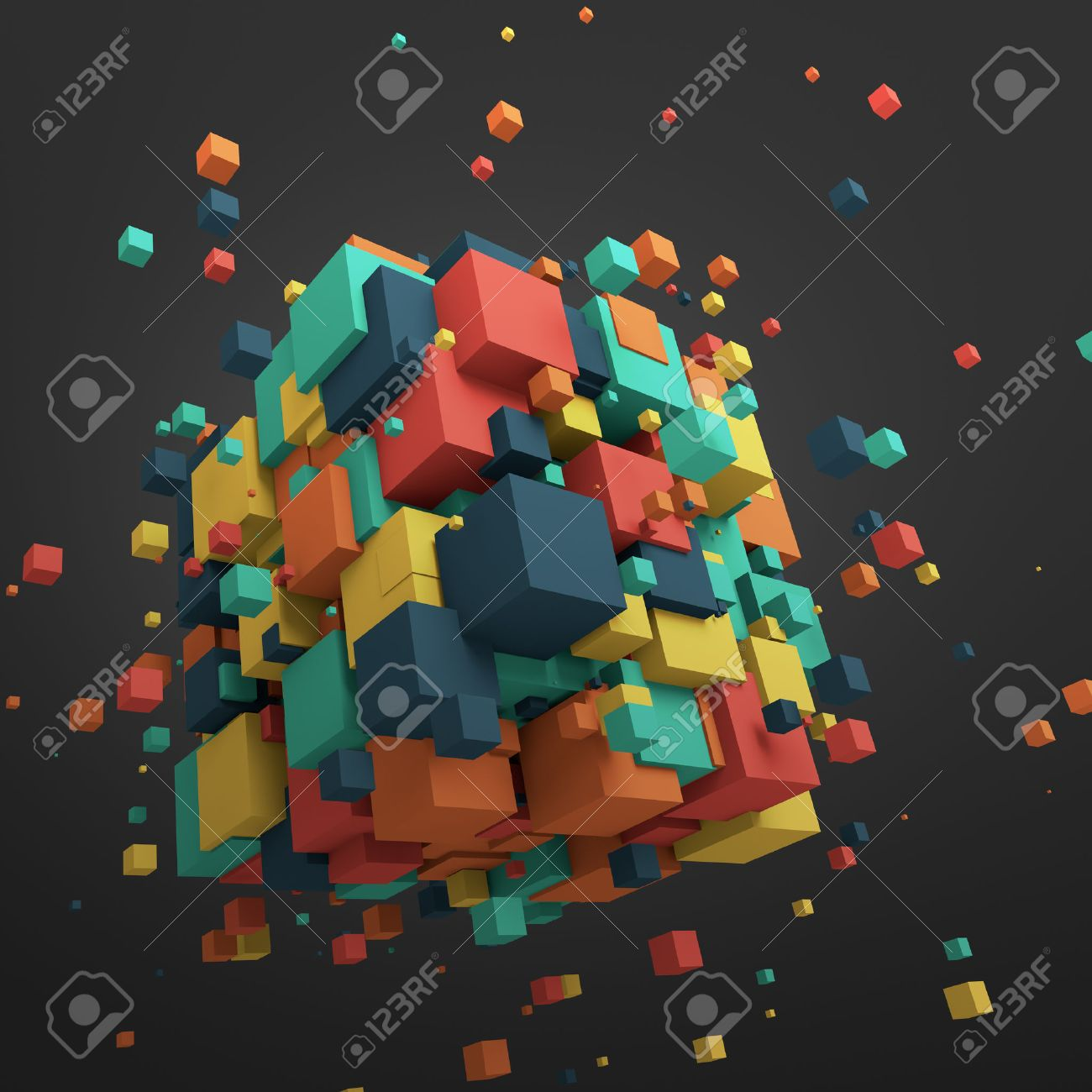 Abstract 3d rendering of chaotic particles. Colored cubes in empty space. Colorful background. Stock Photo - 44121560