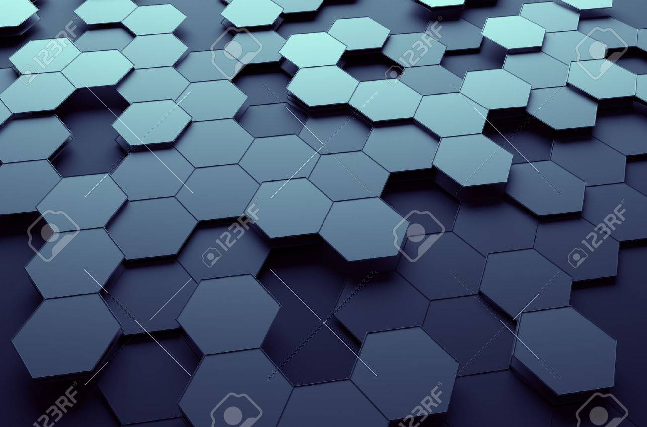 Abstract 3d rendering of futuristic surface with hexagons. Dark sci-fi background. Stock Photo - 47415677
