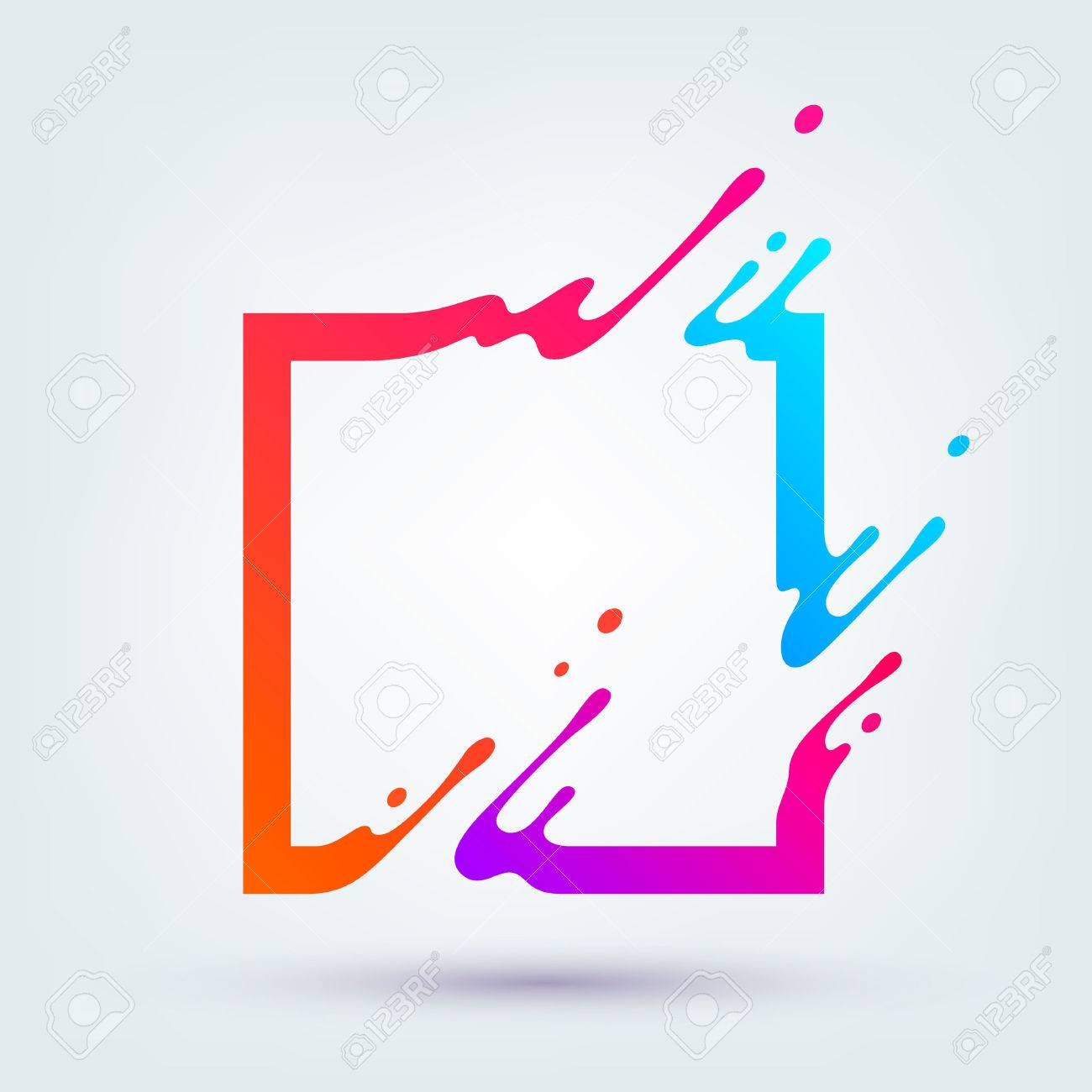 illustration with abstract colorful square. Abstract splash, liquid shape. Background for poster, cover,placard. - 61997567