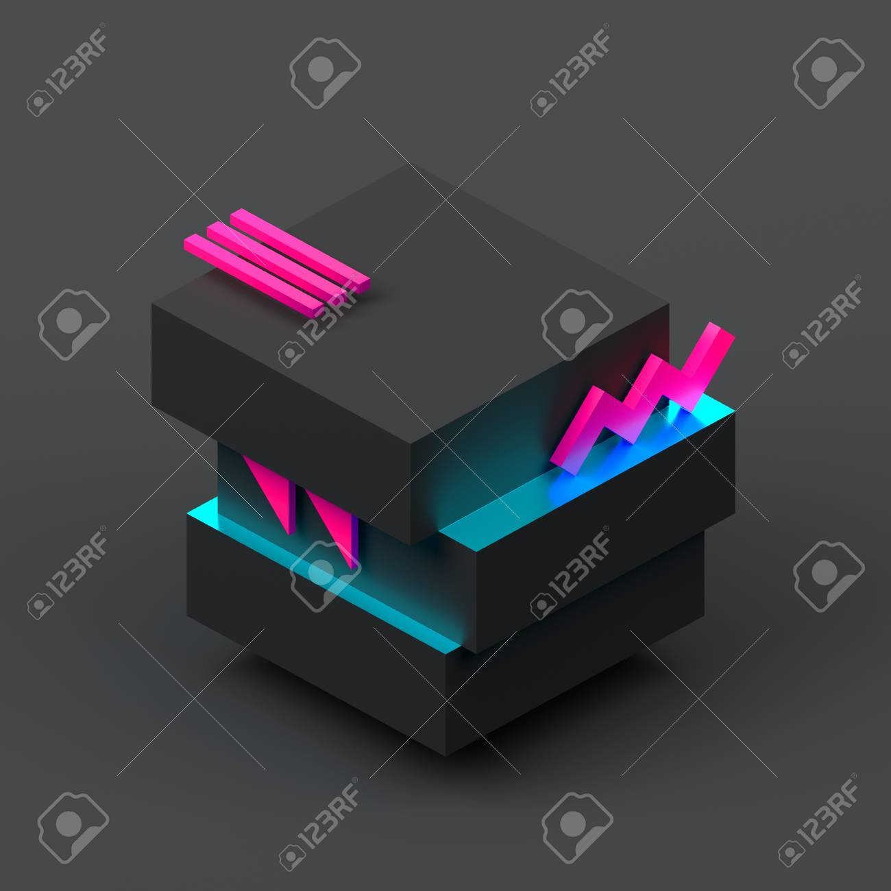 Abstract 3d rendering of geometric shapes  Modern background