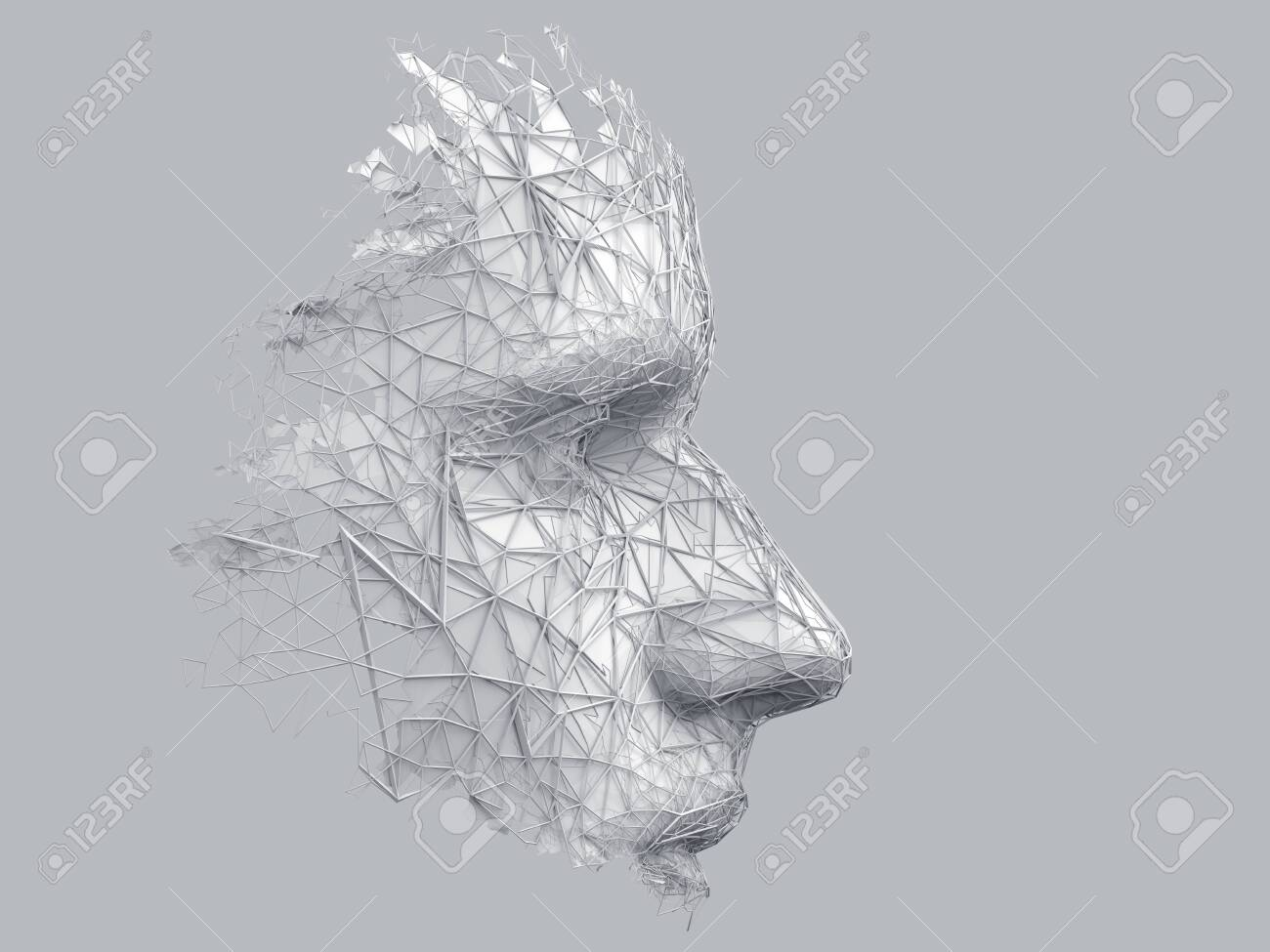 Abstract polygonal human face, 3d illustration of a cyborg head construction, artificial intelligence concept - 125360255