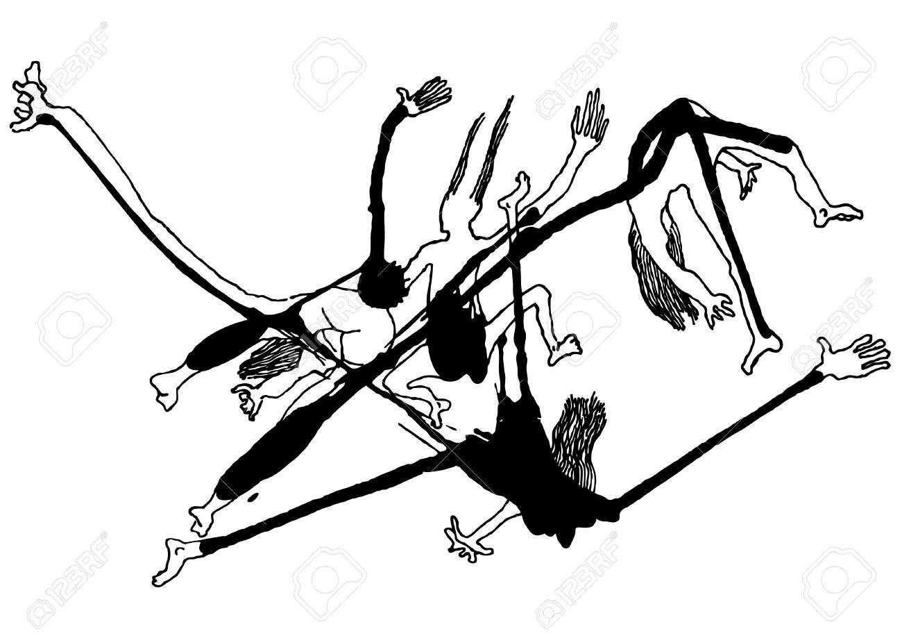 drawing of falling splash people Stock Vector - 5871889