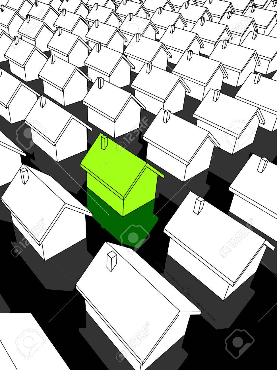"""green """"ecological"""" house standing out from others Stock Vector - 6461994"""
