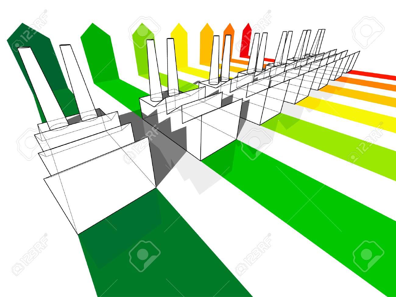 seven factories certified in seven energetic classes Stock Vector - 7034554