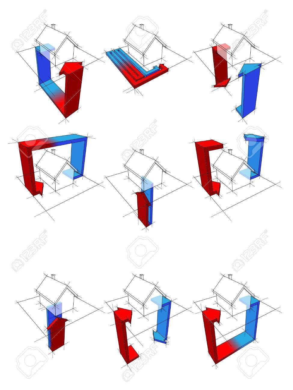 heat pump diagrams Stock Vector - 8782951
