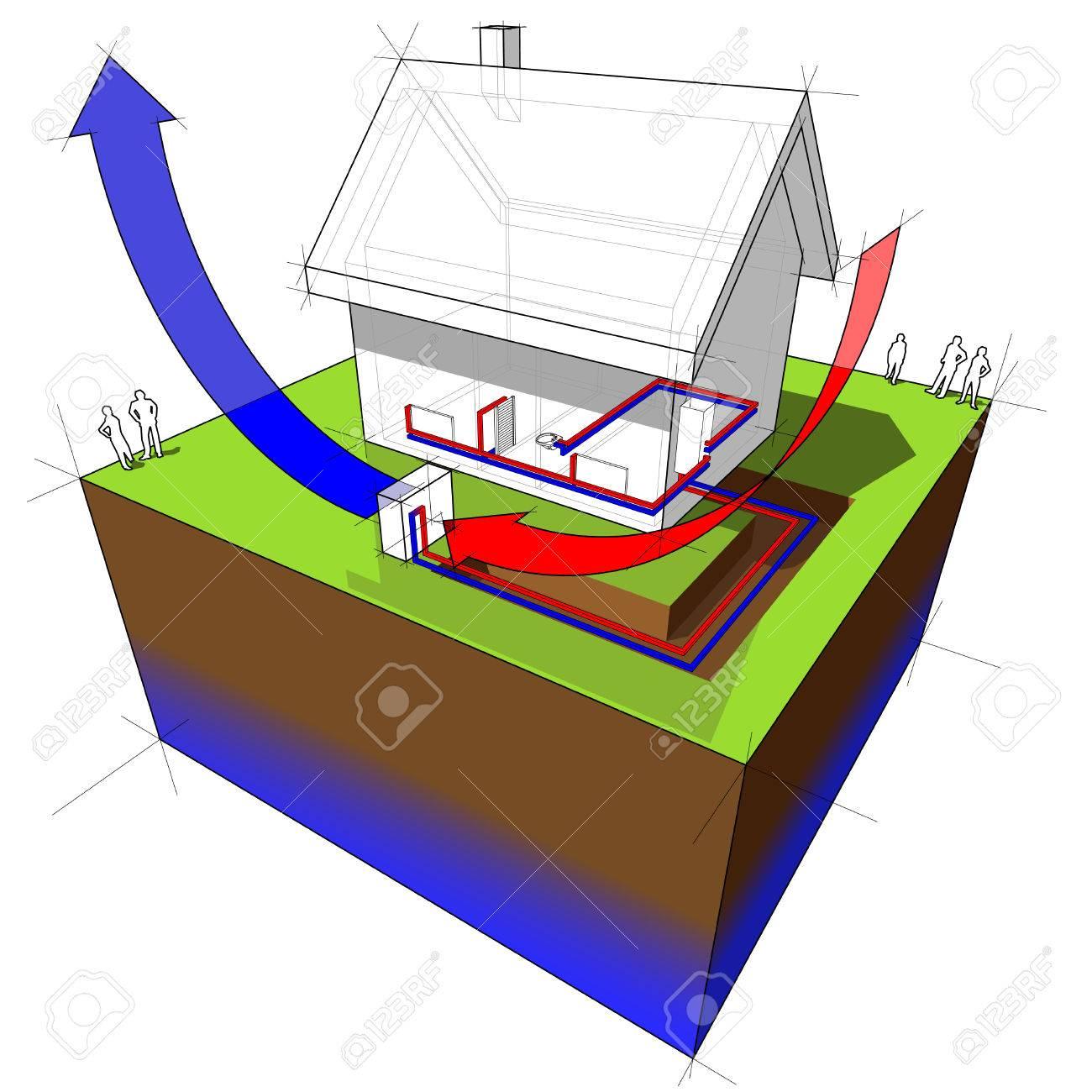 air source heat pump diagram Stock Vector - 8986642