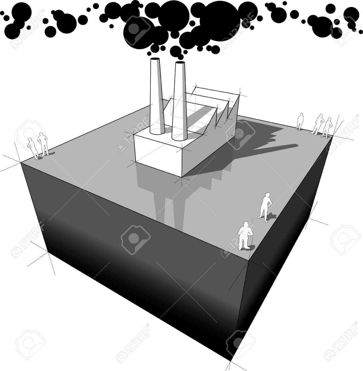 Industrial building/factory polluting air from its smokestacks Stock Vector - 9930047