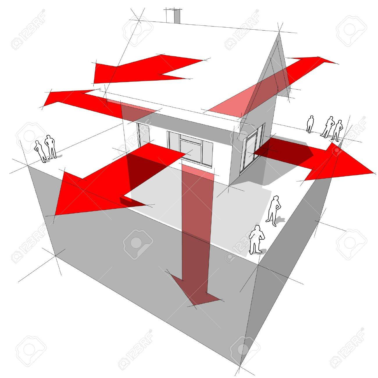 Diagram of a house showing the ways where the heat is being lost through the construction Stock Vector - 9930068