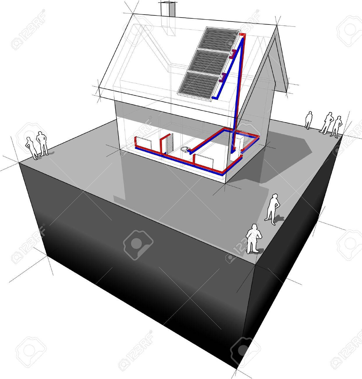 Diagram Of A Detached House Heated By Solar Panel Royalty Free Stock Vector 14566301