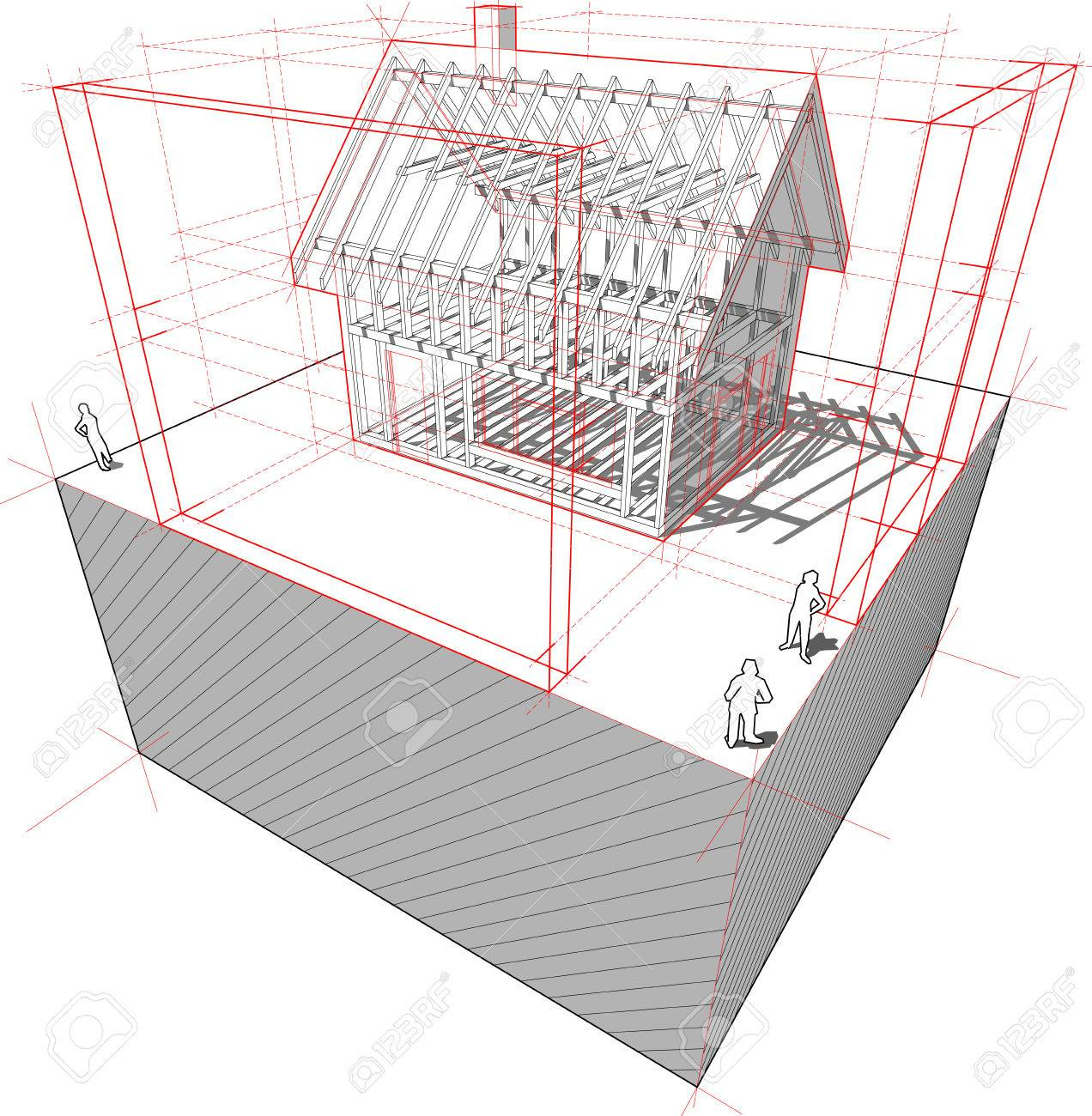 Diagram Of A Framework Construction Of A Detached House With ...