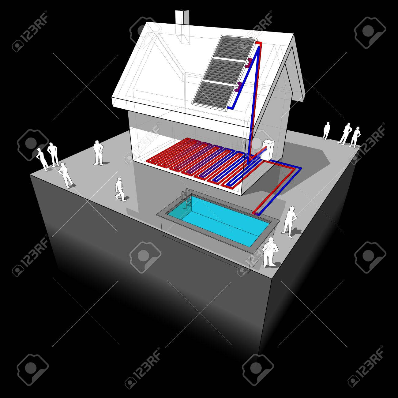Similiar pool piping diagram keywords - Vector Diagram Of A Detached House With Floor Heating And Swimming Pool Heated By Solar Panel