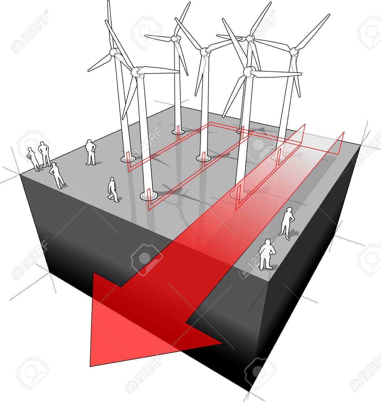 Diagram Of A Wind Turbines Farm With Electro Wires And Turbine Generator Wiring Arrow Stock Vector