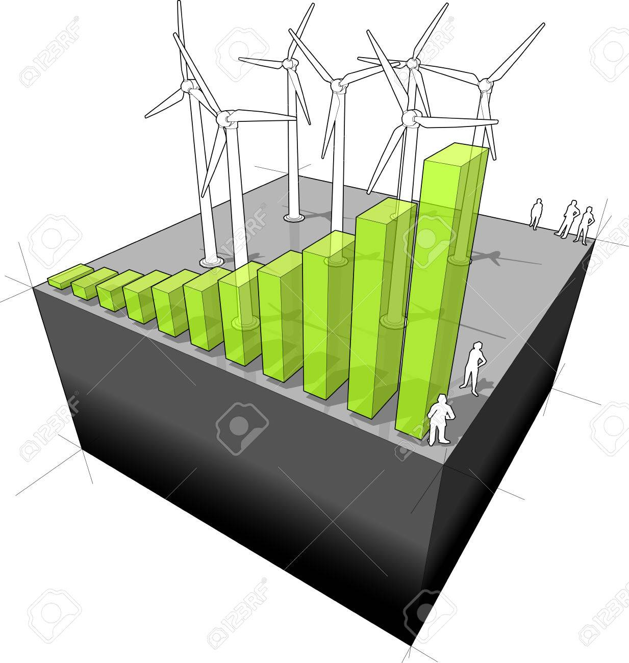 Diagram Of A Wind Turbine Farm With Rising Bar Diagram Meaning ...