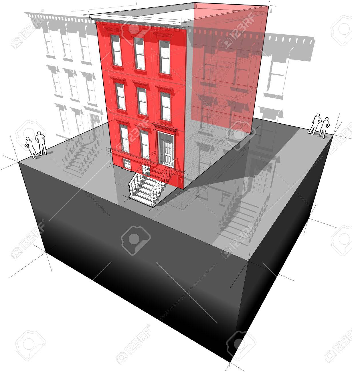 Diagram of a typical american townhouse aka brownstone with banco de imagens diagram of a typical american townhouse aka brownstone with additional wall insulation to improve energy efficiency of the building ccuart Image collections