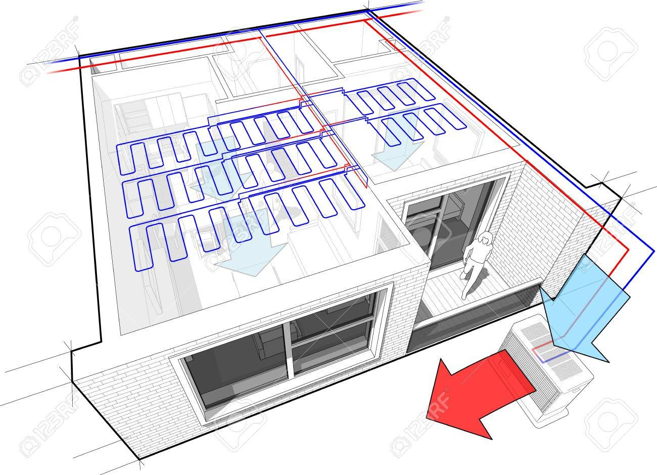 Camera Da Letto In Prospettiva Centrale perspective cut away diagram of a one bedroom apartment completely..