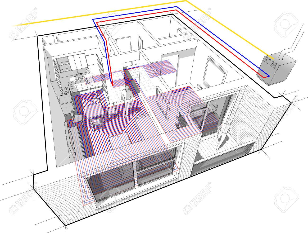 Perspektivische Schnittbild Eines Ein-Zimmer-Wohnung Komplett Mit ...