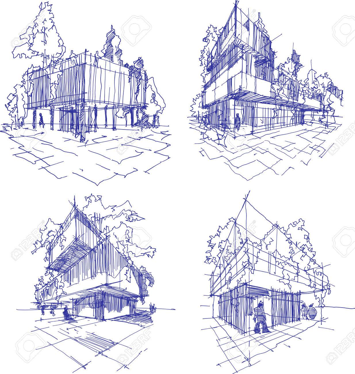 Four Hand Drawn Sketches Of Abstract Modern Building With Lots Greenery And Trees On The