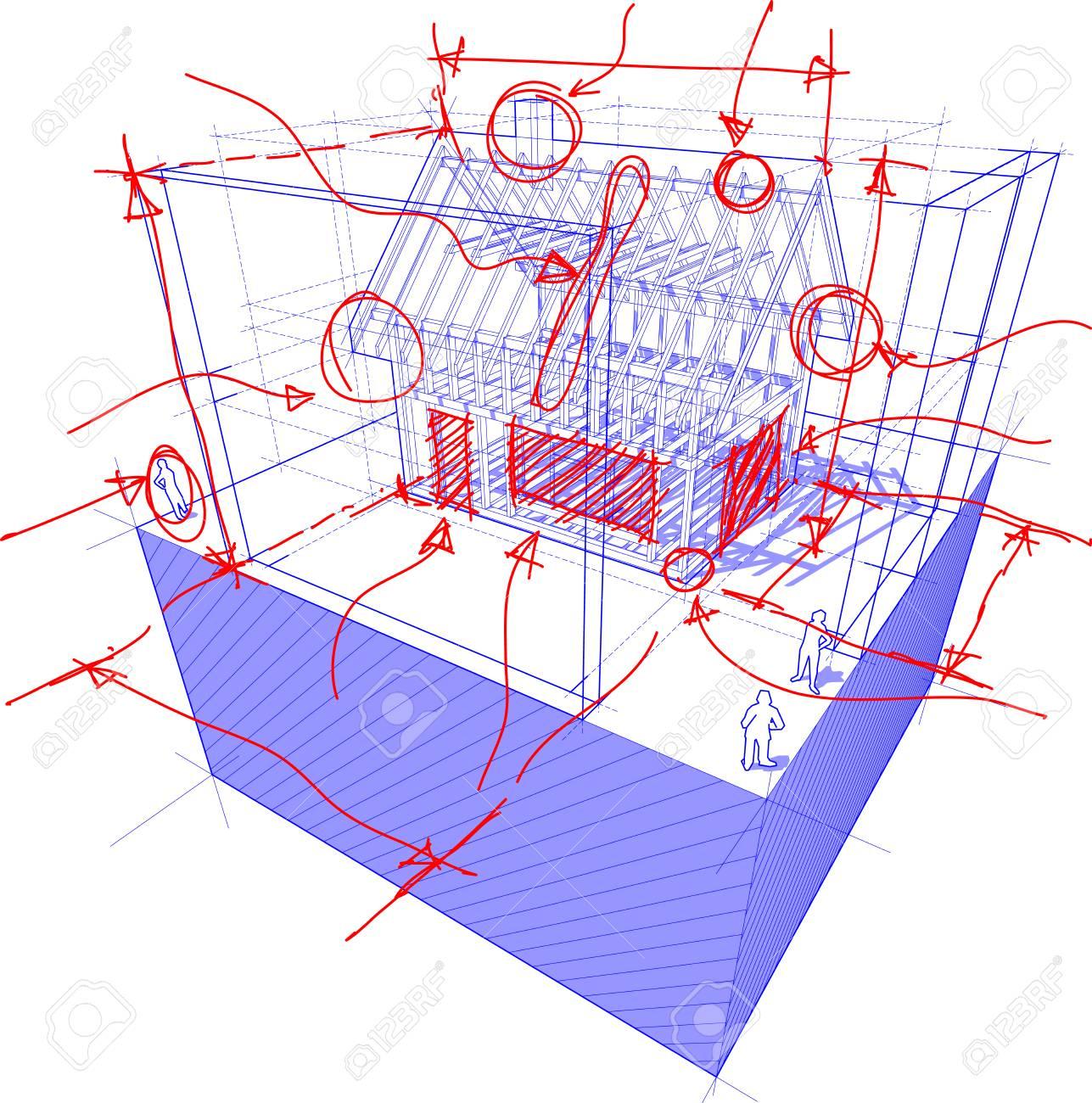 Très bien Illustration 3D Du Schéma D'une Construction De Cadre D'une Maison #WM_08