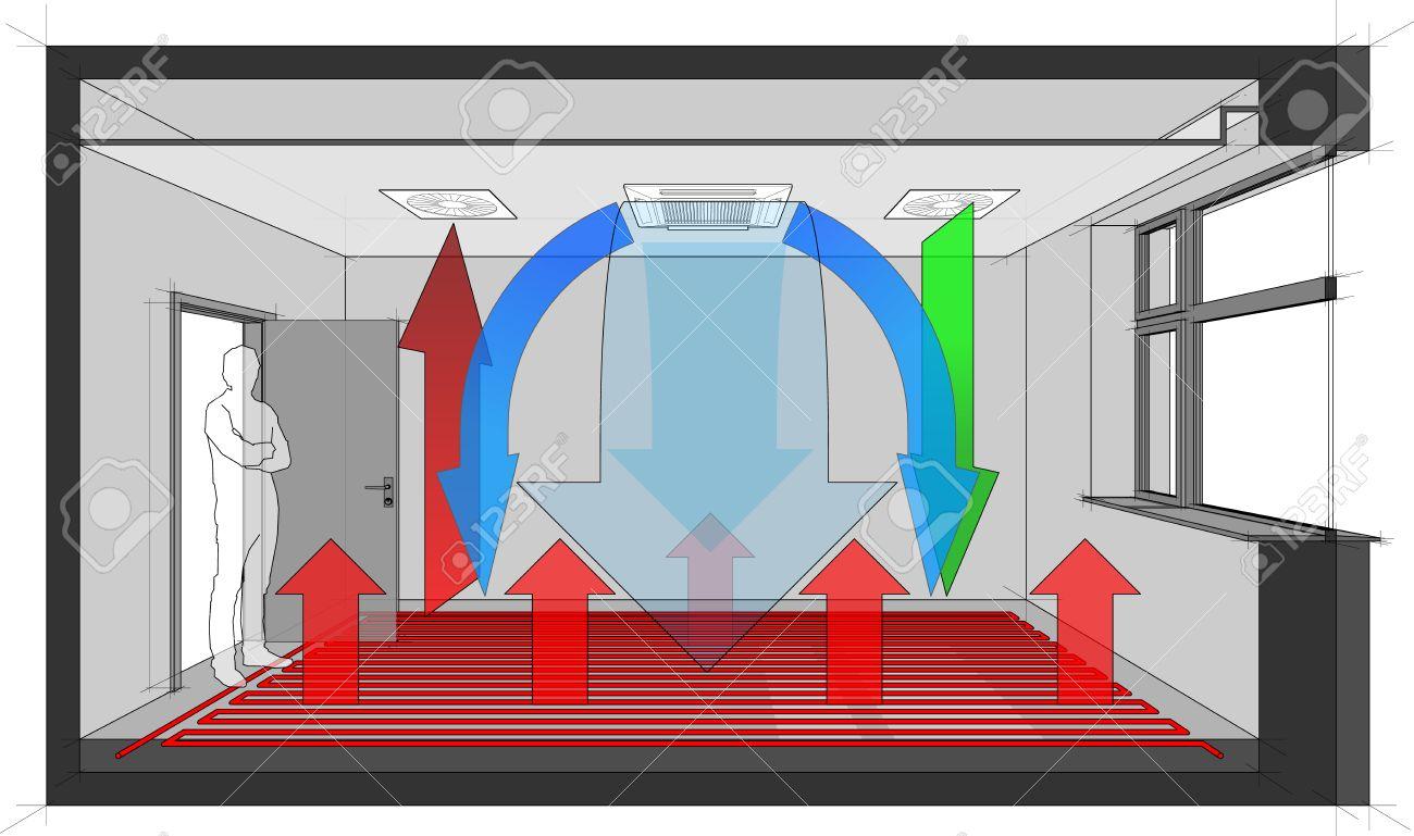 Diagramm Eines Raumes Belüftet Und Gekühlt Durch Decke Eingebaut ...