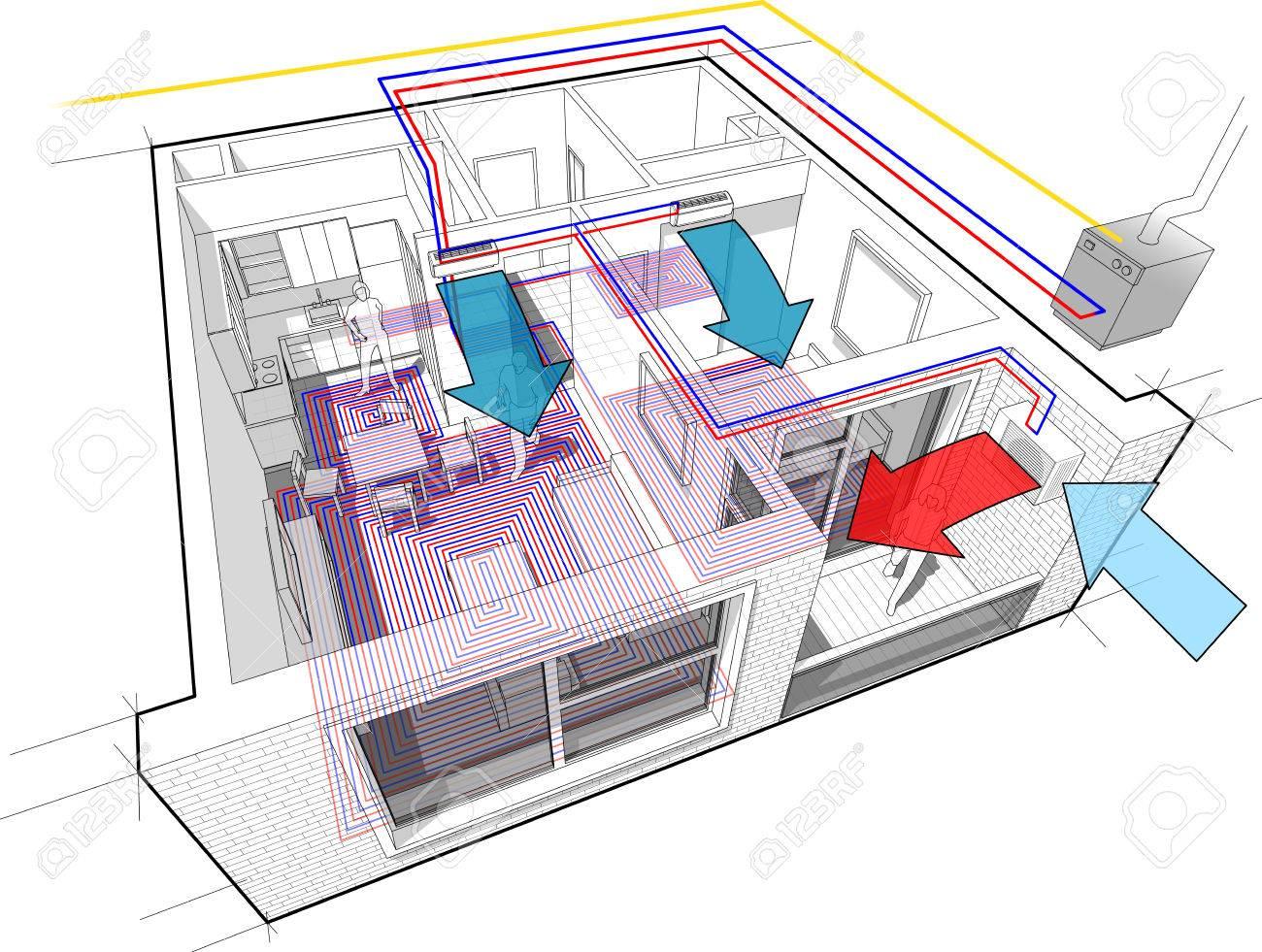 Perspektive Cutaway Diagramm Eines Ein-Zimmer-Wohnung Komplett Mit ...