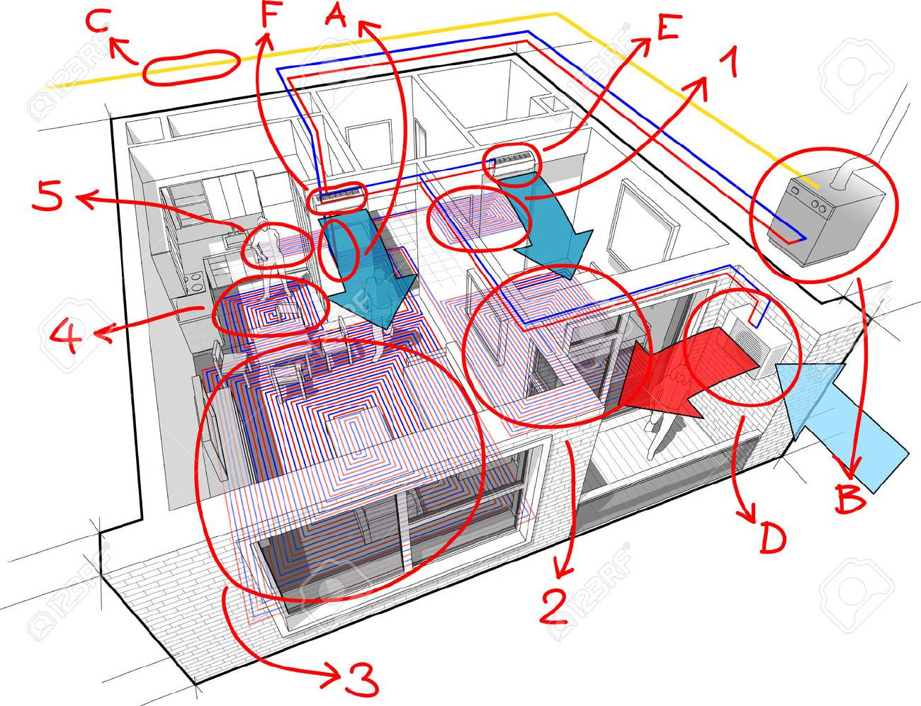 Apartment Diagram With Underfloor Heating And Gas Water Boiler ...
