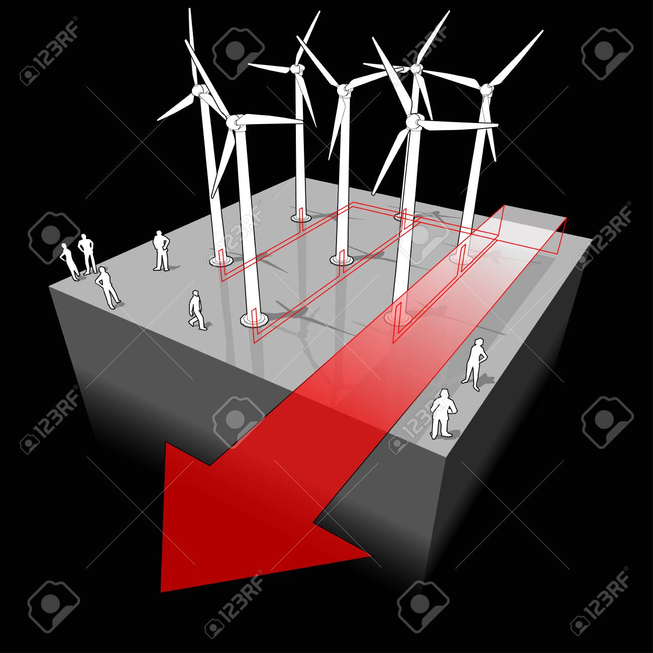 Diagram Of A Wind Turbines With Electro Wires And Arrow Power Wiring Stock Vector 83739648