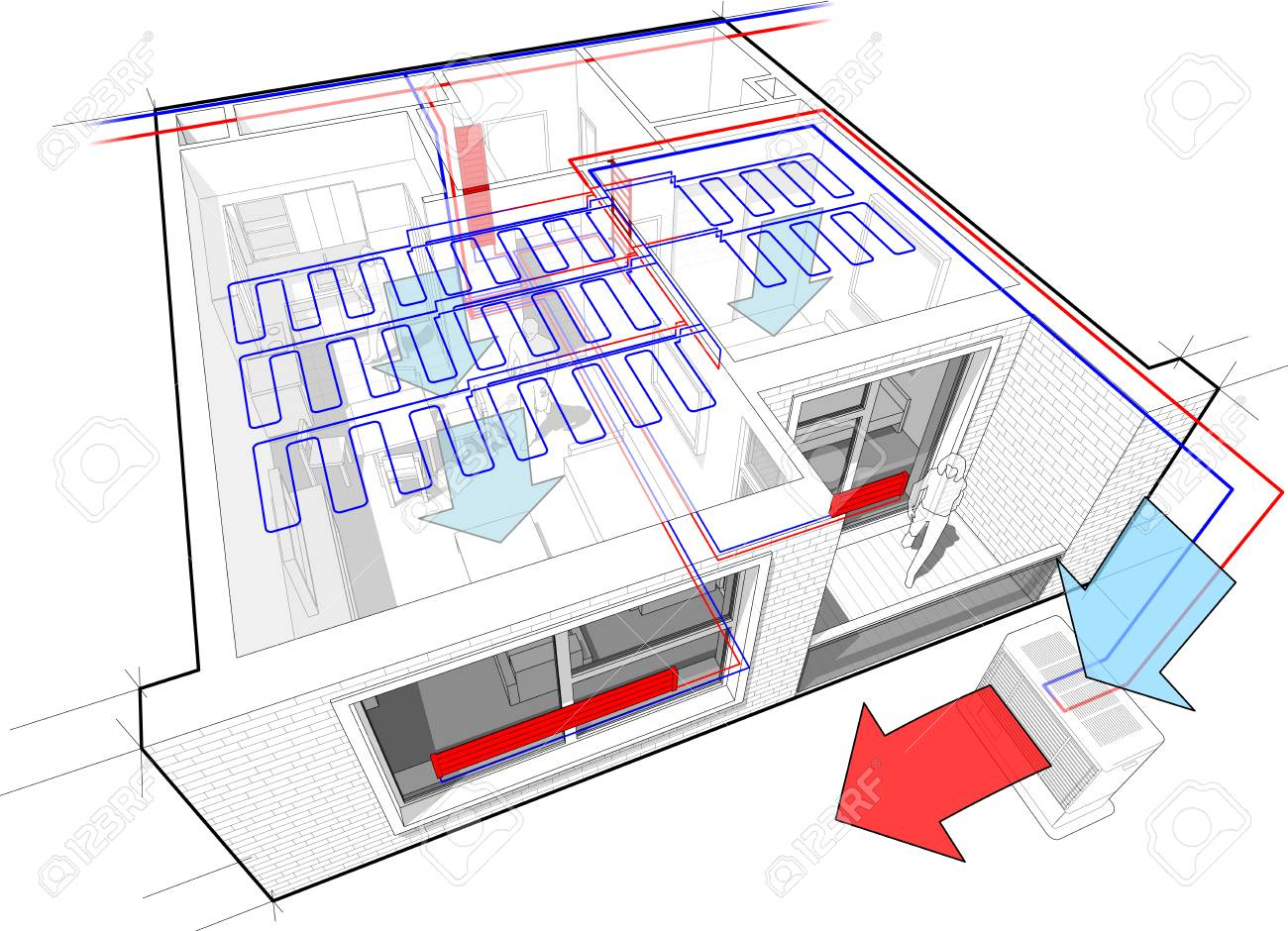 Perspective Cutaway Diagram Of A One Bedroom Apartment Completely ...