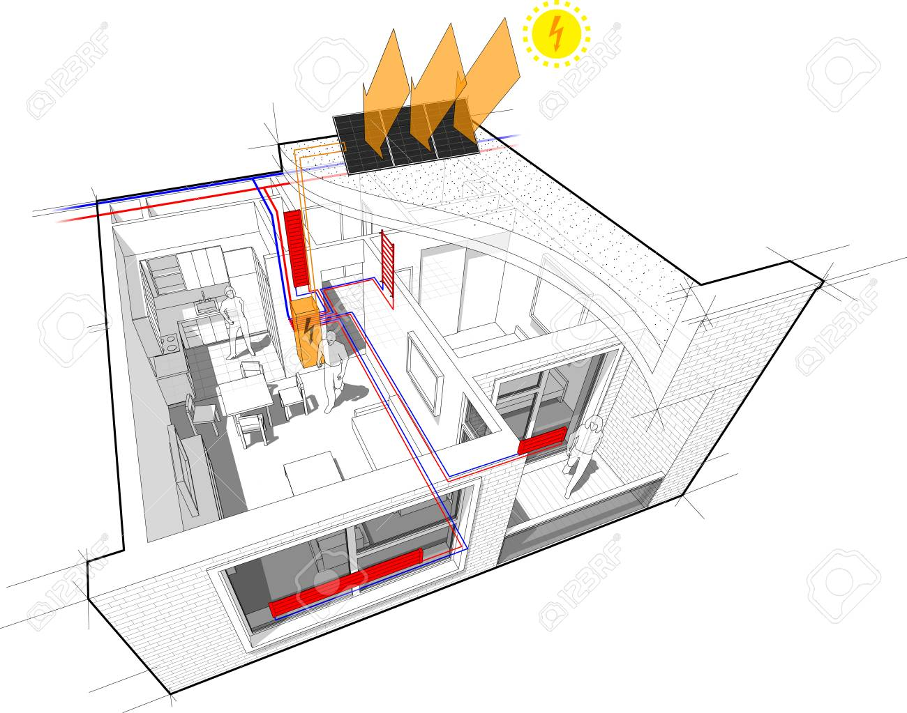 Perspective Cutaway Diagram Of A One Bedroom Apartment. Completely ...