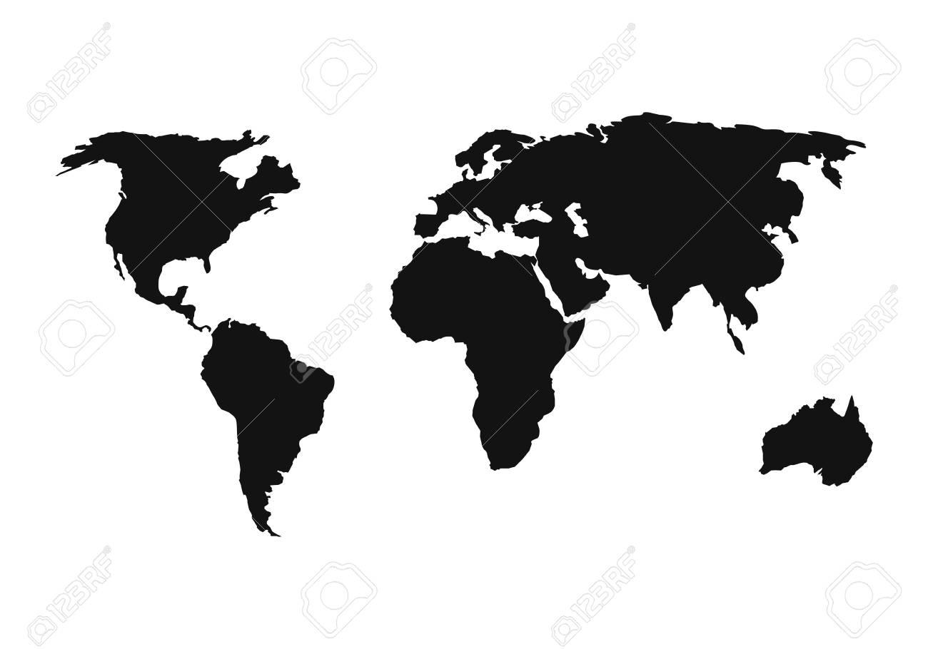 World Map Icon. Flat Simple Black Design. Vector Illustration