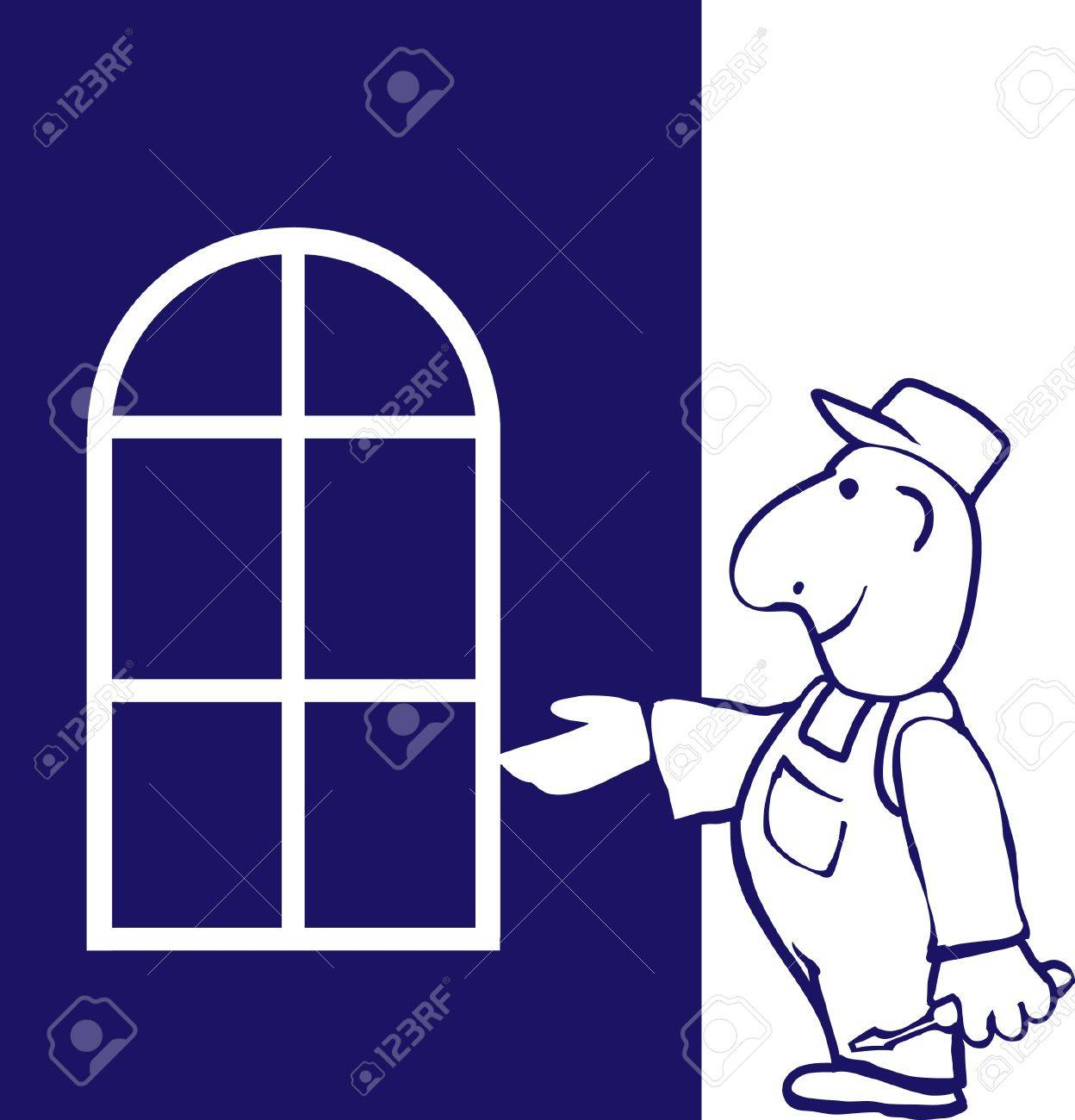 Window installer with box of tools. Stock Vector - 8511367