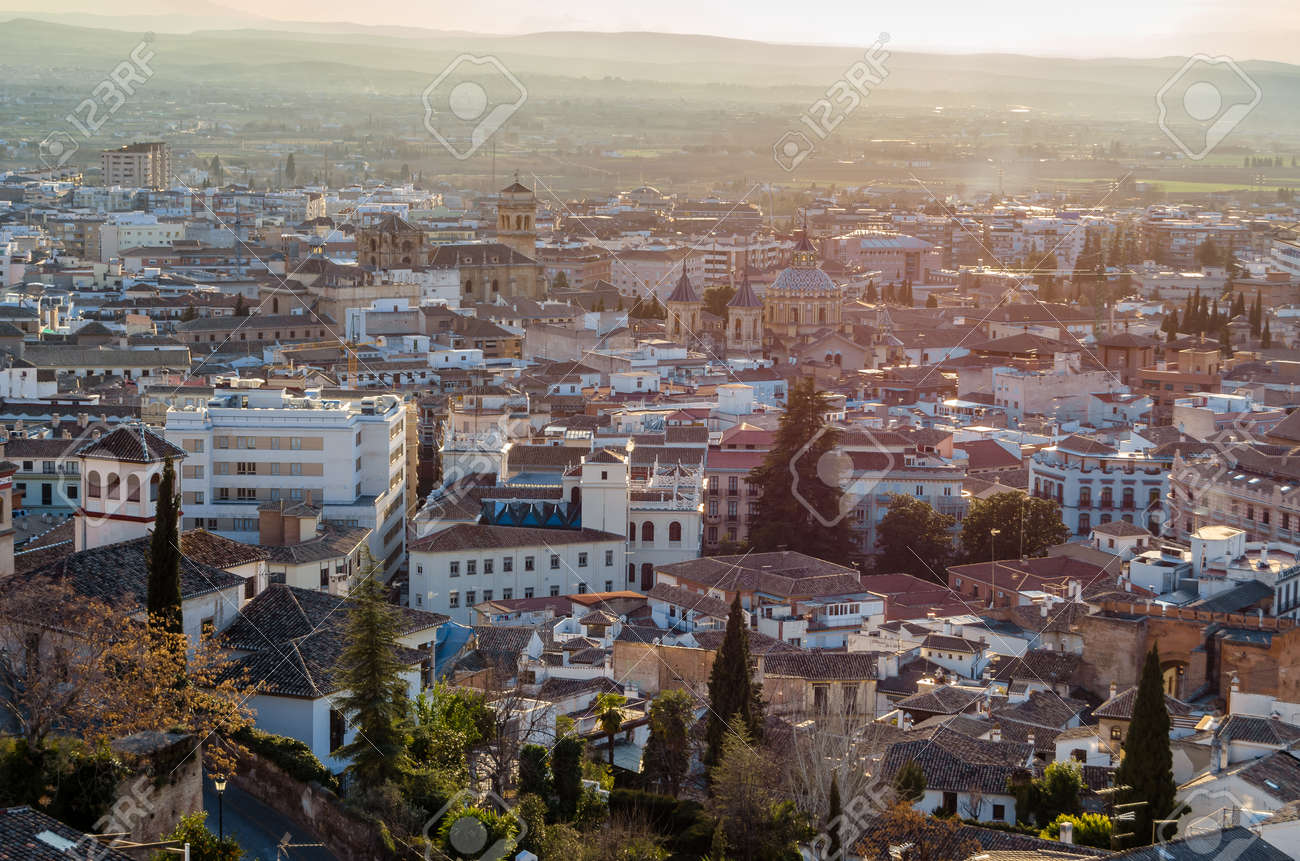 Urban landscape, Granada city view at sunset, Andalusia, southern Spain - 166952729