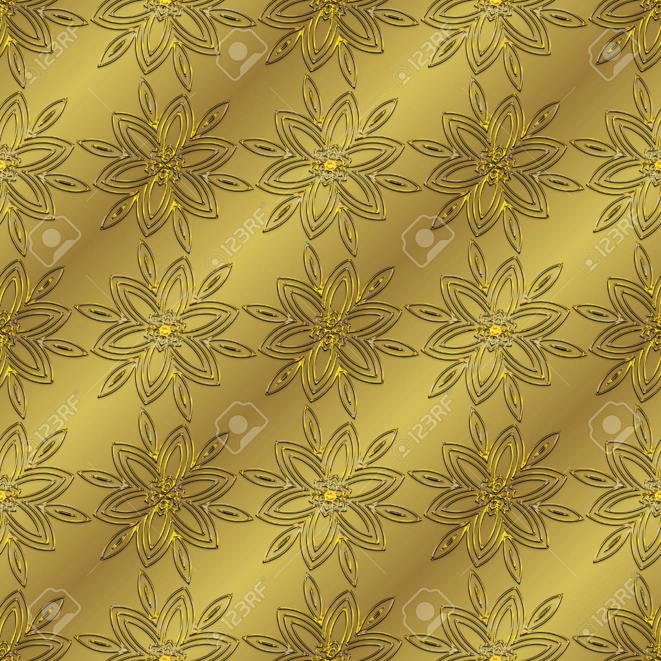 Gold Metallic Regular Seamless Pattern Metal Foil With Pattern