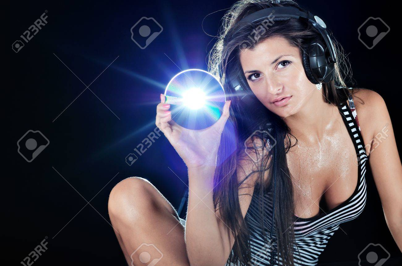 Hot Beautiful Girl Like A Dj And Black Background Stock Photo ...