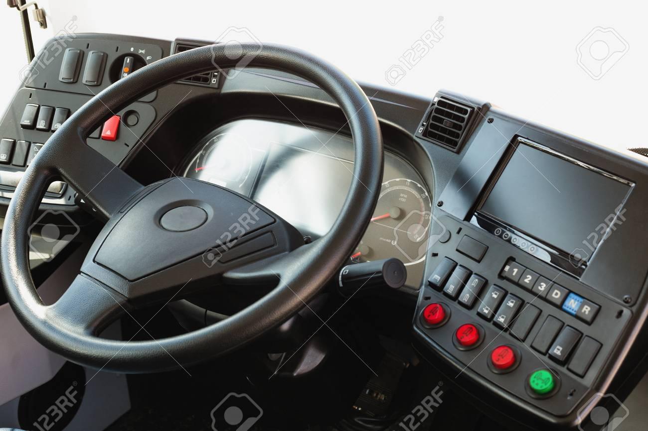 Modern Automobile Dashboard Closeup. Screen Multimedia System. Stock ...