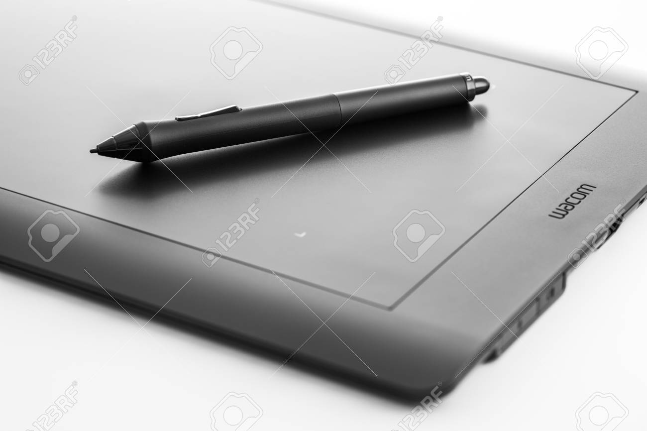 Varna, Bulgaria - January 10, 2016 Wacom Intuos pro graphic tablet