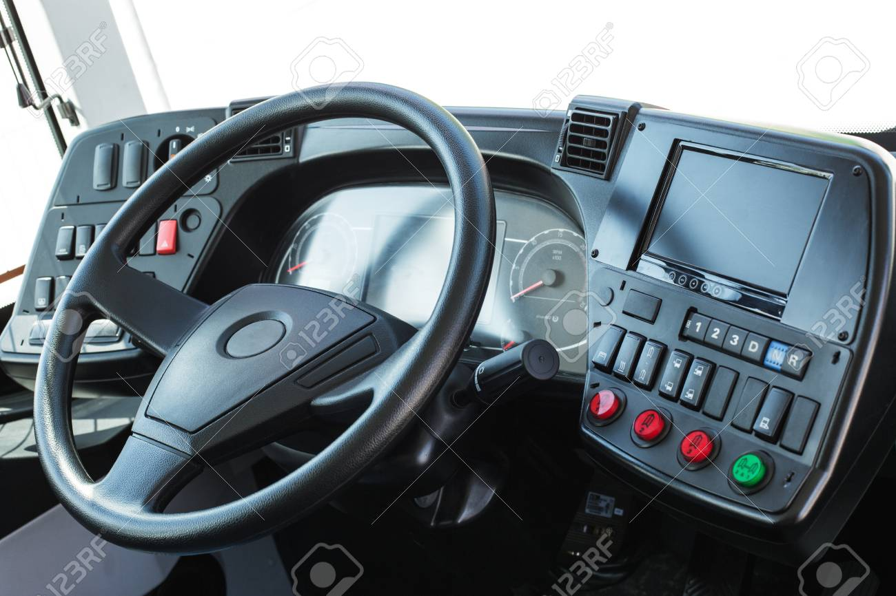 Modern Automobile Control Panel. Dashboard With Navigation Of ...