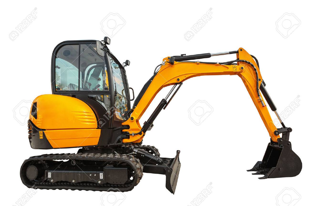Small or mini excavator with clipping path isolated on white background - 58049988
